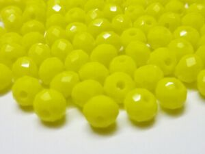 100-pce-Opaque-Yellow-Faceted-Abacus-Glass-Beads-6mm-x-4mm-Jewellery-Making