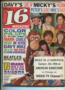 16-Magazine-Nov-1967-Monkees-Beatles-Herman-Hermits-Doors-Sajid-MBX89