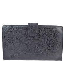 Auth CHANEL CC Logos Long Bifold Wallet Purse Caviar Skin Leather Black 01R223