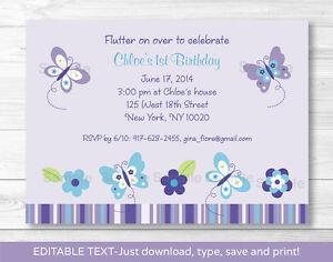 Image Is Loading Lavender Butterfly Garden Printable Birthday Invitation Editable PDF