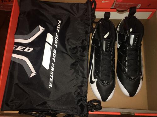 NIKE 318697-001 SUPER SPEED D 3//4 FOOTBALL CLEATS BLACK//BLACK-WHITE