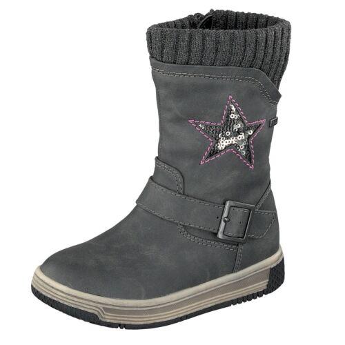 Indigo Halbstiefel Mädchen Boots 364 181 Winter gefüttert Dunkelgrau Stern NEU