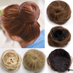 100-Real-Natural-Clip-on-in-Messy-Hair-Bun-Extension-Chignon-Hairpiece-Brown-US