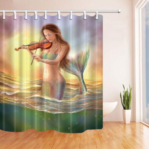 """Chica Sirena Mar Baño Cortina de ducha de tela impermeable extra larga de 72/"""" X 84/"""""""