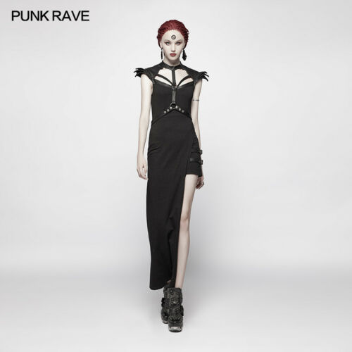 Punk Rave Asymmetric sophisticated goth dress black harness structured WQ-377
