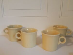 Ring Handles-Homer Laughlin Set of 4-Different Color Fiesta Ware Coffee Mugs