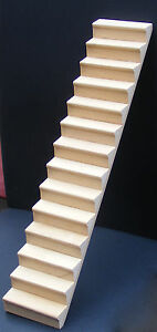 1-12-Scale-Natural-Finish-Wooden-Tumdee-Dolls-House-Miniature-Stair-Case