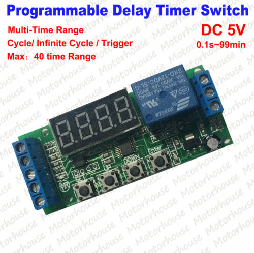 Programmable Multi-Time Range Delay Time Cycle Timer Relay Trigger Switch Module