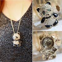 CHIC Hot Vintage Rhinestone Women Girl Panda Sweater Necklace Pendant Chain Gift