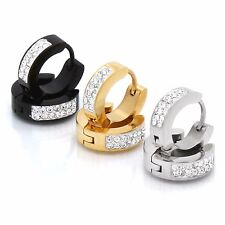 Men Ladies Stainless Steel Silver Gold Black 9mm Cz Hoop Huggie Leverback 3 Pair