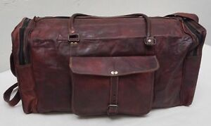 best Men s genuine Leather large vintage duffle travel gym weekend ... 07bb2a8306