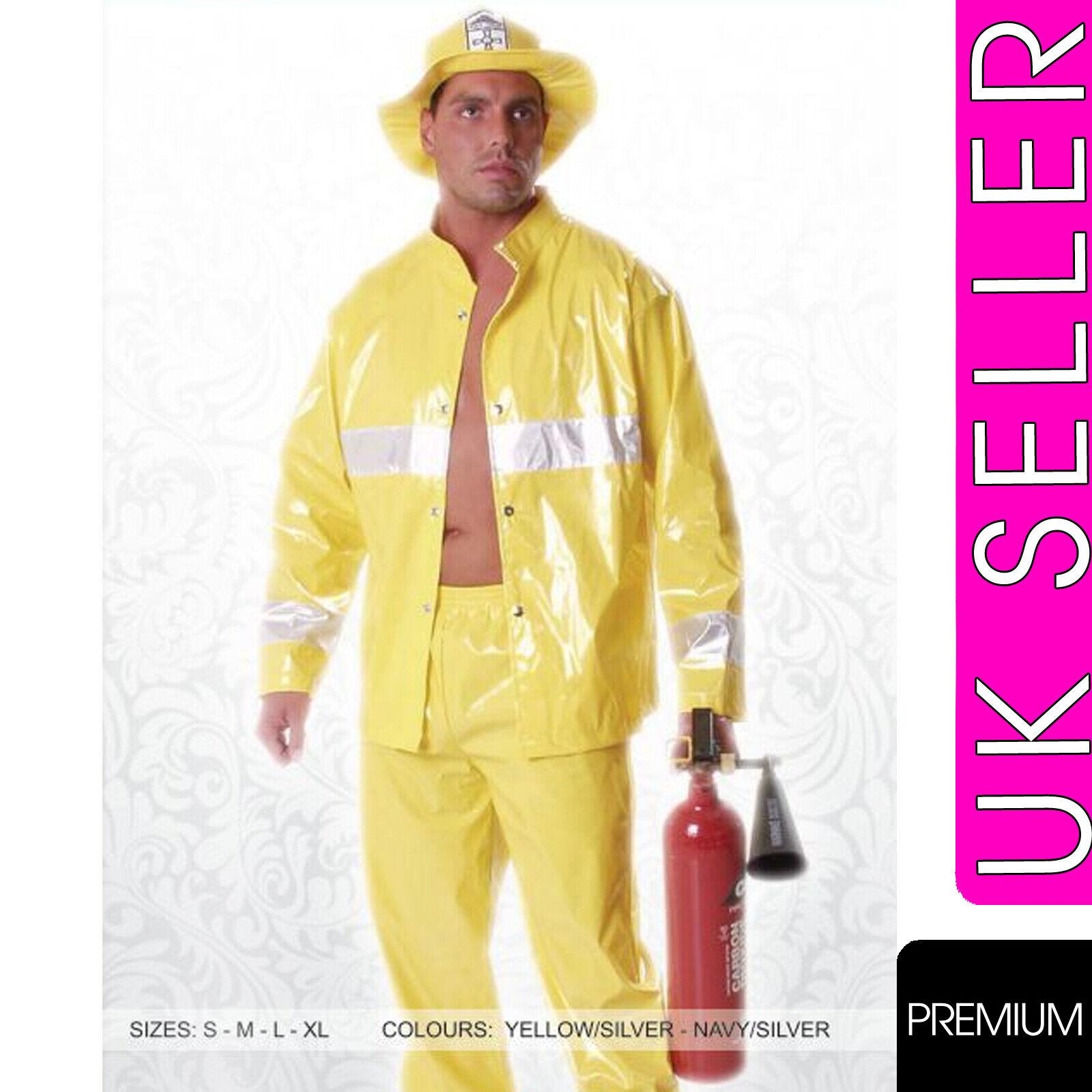 Mens Fireman Fancy Dress Costume Firefigher Fire Fighter Uniform Great for Stags