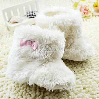 Infant Bowknot Plush Snow Boots Baby Girls Woolen Yarn Crib Shoes Soft Bootie