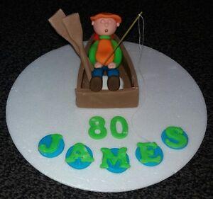 Pleasant Edible Sleeping Fishing Boat Fisherman Birthday Cake Topper Mens Funny Birthday Cards Online Eattedamsfinfo