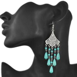 Crochet-Boucles-D-039-oreilles-Perles-de-Turquoise-Pierre-Vintage-Style