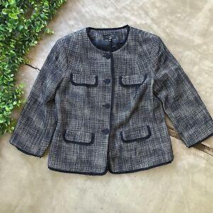 Talbots Tweed Jacket Blazer • Navy Blue Button Wool Blend 3/4 Sleeve • Size 12