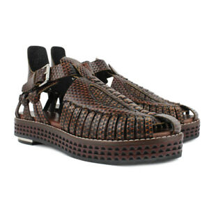 Proenza-Schouler-Runway-Brown-Leather-Woven-Huarache-Sandals-IT37-5-UK4-5