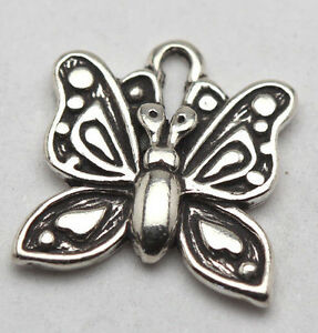 FREE S/&H Ornate .925 Sterling Silver Butterfly Pendant w Remarkable Patina