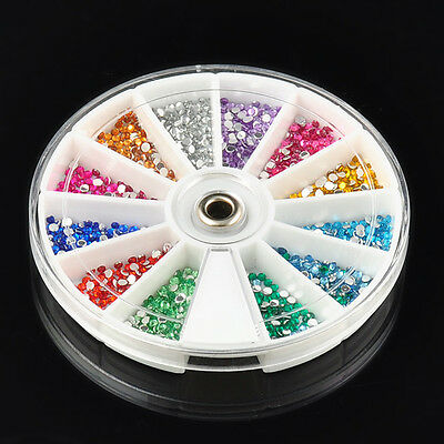 Wholesale 3D Acrylic Nail Art Tips Stud DIY Decoration Glitter Rhinestones Wheel