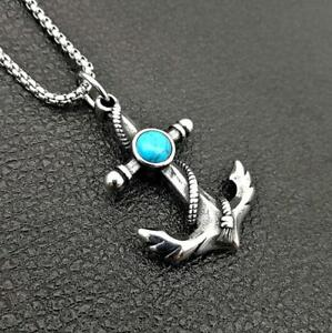 Retro mens silver pirate anchor stainless steel turquoise pendant image is loading retro men 039 s silver pirate anchor stainless aloadofball Choice Image