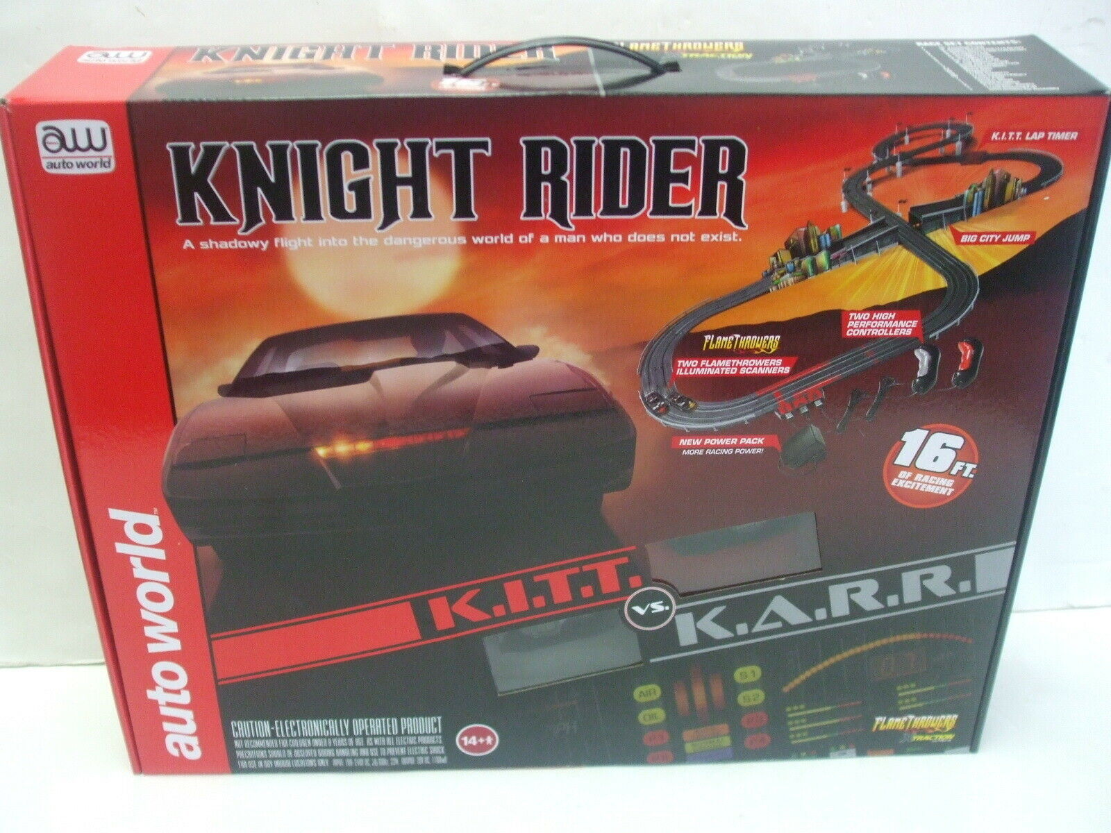 bil värld K.I.T.T mot K.A.R.R. värld Knight Rider Slot Bil Race Set - MIB