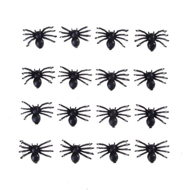 50pcs Halloween Funny Small Fake Spider Black Plastic Joke Prank Toys Props New