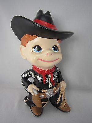 "Vintage 80s Ceramic Cowboy Figurine Western Black Hat 11"" Signed USA Statue"