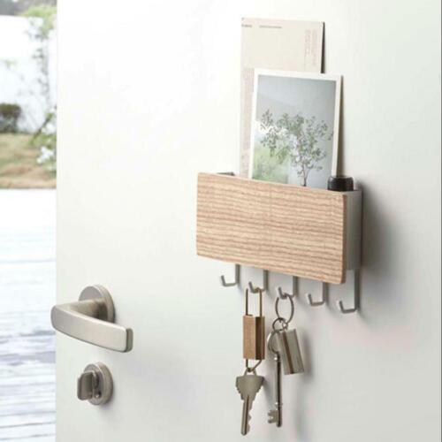 Wooden Door Hanger Wall Mount Hooks Key Holder Rack Organizer Letter Box Mail US