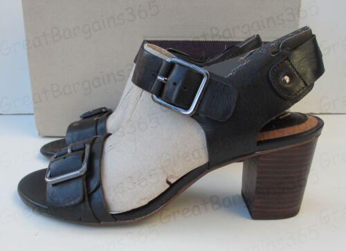 Clarks Ladies Ralene Dazzle Quarter Strap Heeled Sandal Black Leather UK 4.5 New
