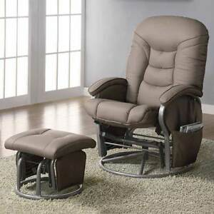 Image Is Loading Deluxe Nursing Glider Swivel Rocker Recliner Comfort Beige