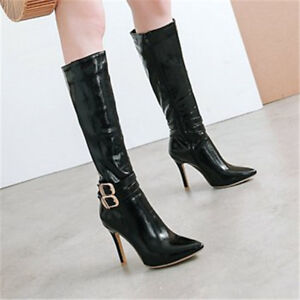 women buckle pointy toe over the knee boots stiletto high