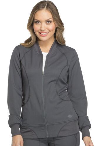 Dickies Women Scrubs Zip Front Warm Up Jacket DK330 PWT Pewter Free Shipping