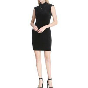 CALVIN-KLEIN-Women-039-s-Mock-neck-Velvet-Hardware-embellished-Sheath-Dress-TEDO