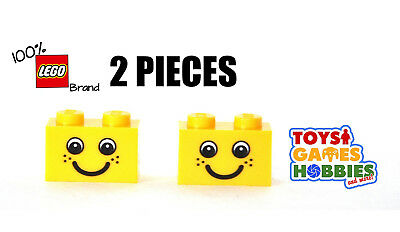 LEGO 88399 Yellow 1x2 BRICK 1 x 2 Printed Smiley Smiling Face Freckles 50 Pcs