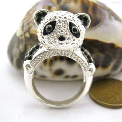 varios tamaños Anillo panda de plata muy lindo