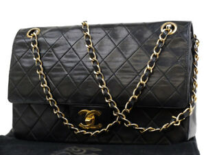 Image is loading CHANEL-VINTAGE-BLACK-CLASSIC-LAMBSKIN-DOUBLE-FLAP-COCO- 693877559c94b