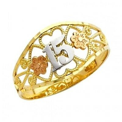 "14K Solid Tri-color Gold /""Quince Anos/"" Sweet 15 Flowers /& Leaves Fancy Ring"