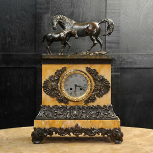 MARE-and-FOAL-EARLY-FRENCH-BRONZE-SIENNA-MARBLE-CLOCK-SILK-SUSPENSION-C1820