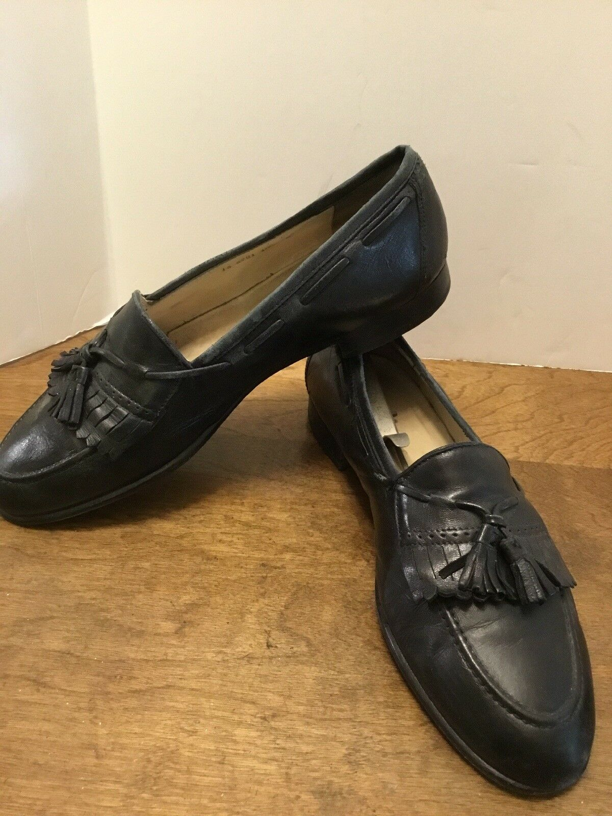Johnston & Murphy Men's Kiltie Tassel Loafers Black On 10.5M Leather Shoes Slip On Black 0cb9dc