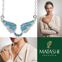 16 Rhodium Plated Necklace W/ Angel Wings & Ocean Blue Crystals By Matashi on sale