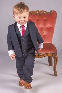 Boys-Suits-Boys-Navy-Suit-Boys-Wedding-Suit-Page-Boy-Party-Prom-5-Piece-Suit