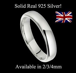925-Real-Solid-Silver-2mm-3mm-4mm-D-Shaped-Wedding-Band-Size-H-T-Plain-Small