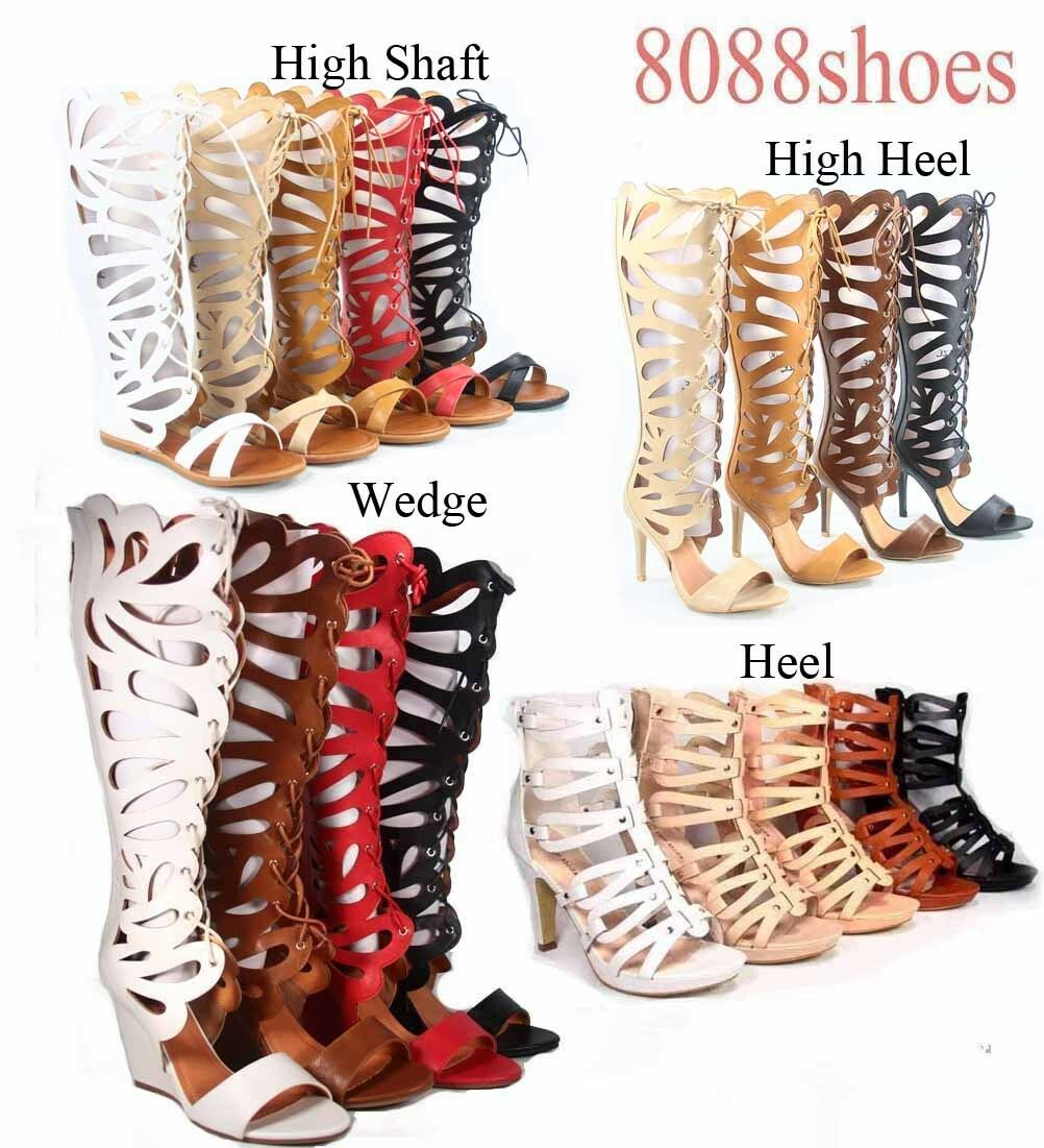 Women's Cut Out  Open Toe  Gladiator Flat High Heel  Toe Sandals Shoes Size 5 - 11 0270a3