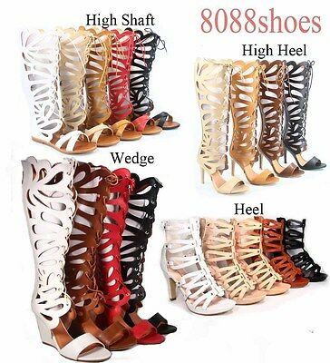 Women's Cut Out  Open Toe Gladiator Flat High Heel  Sandals Shoes Size 5 - 11