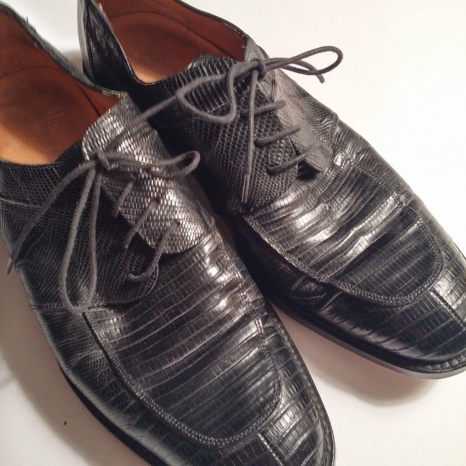 Neiman Marcus M Negro Genuino Lagarto handmadedress Split Toe Derby España