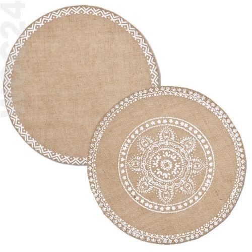 4x LEINEN Tischset Platzdeckchen Platzset Tischmatte Platzmatte rund Mandala