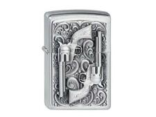 "ZIPPO ""REVOLVER"" EMBLEM BRUSHED CHROME LIGHTER / 2001654 ** NEW in BOX **"