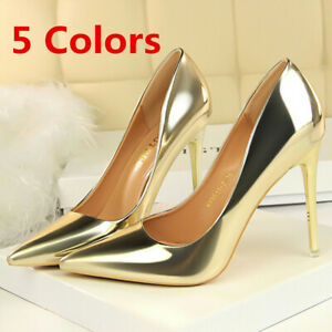 Women-Classic-Pumps-Patent-Leather-Pointed-Toe-Slip-On-Stilettos-High-Heel-Shoes
