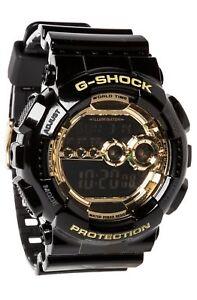 Casio-Men-039-s-Black-Resin-G-Shock-Digital-Strap-Gold-Tone-GD-100GB-1D