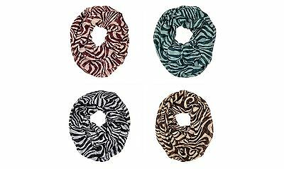 Tiger Animal Print Stripe Block Circle Loop Wrap Infinity Scarf Multi Color Soft